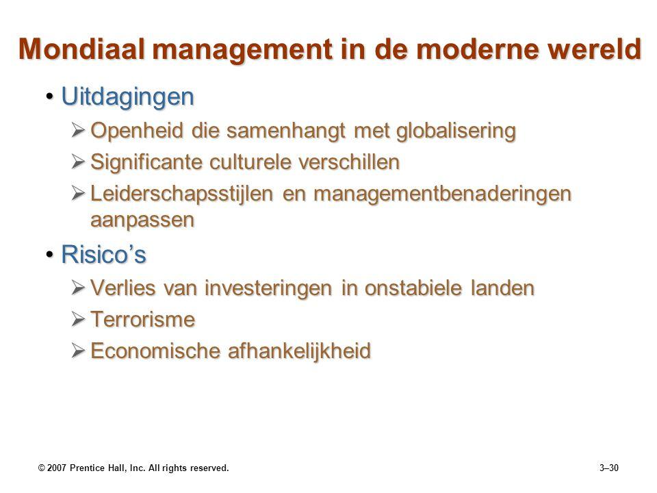 © 2007 Prentice Hall, Inc. All rights reserved.3–30 Mondiaal management in de moderne wereld UitdagingenUitdagingen  Openheid die samenhangt met glob