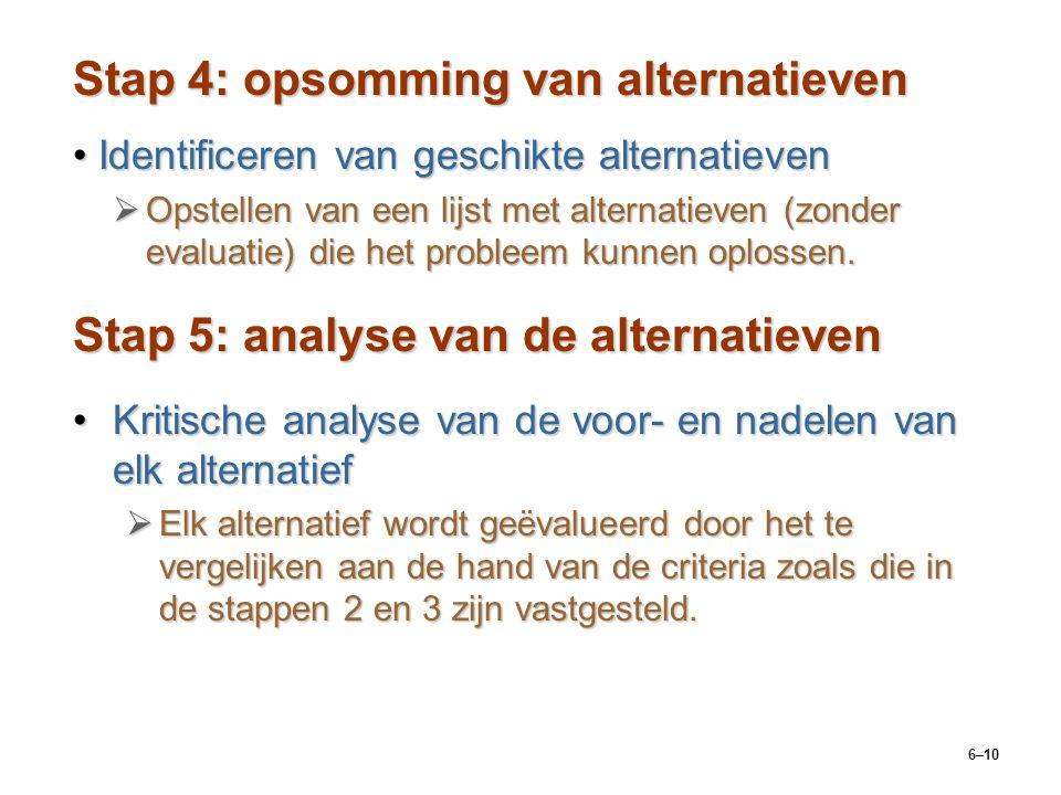 6–10 Stap 4: opsomming van alternatieven Identificeren van geschikte alternatievenIdentificeren van geschikte alternatieven  Opstellen van een lijst met alternatieven (zonder evaluatie) die het probleem kunnen oplossen.