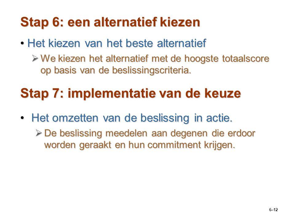 6–12 Stap 6: een alternatief kiezen Het kiezen van het beste alternatiefHet kiezen van het beste alternatief  We kiezen het alternatief met de hoogste totaalscore op basis van de beslissingscriteria.