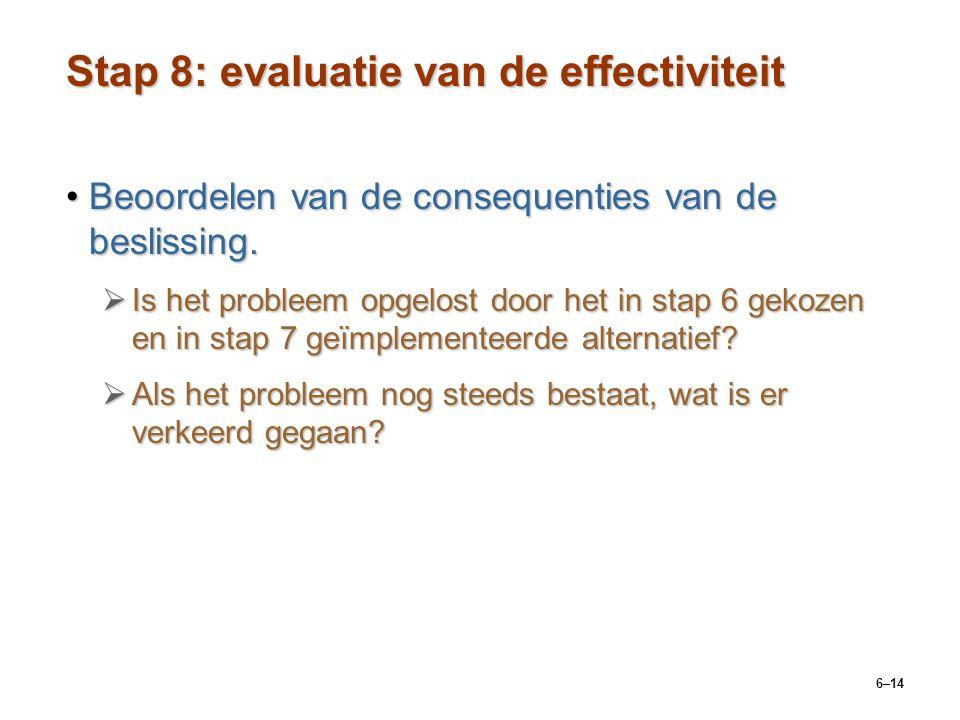6–14 Stap 8: evaluatie van de effectiviteit Beoordelen van de consequenties van de beslissing.Beoordelen van de consequenties van de beslissing.