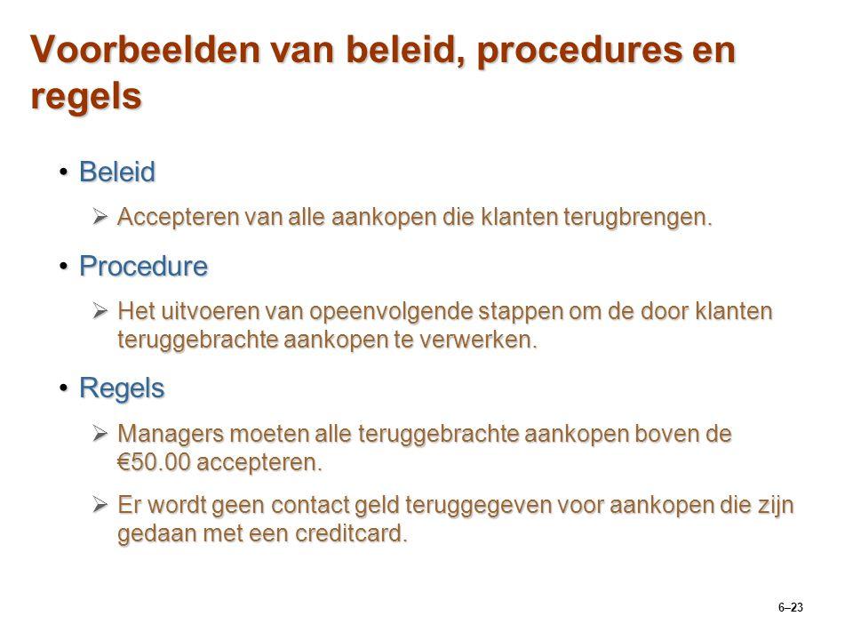 6–23 Voorbeelden van beleid, procedures en regels BeleidBeleid  Accepteren van alle aankopen die klanten terugbrengen.