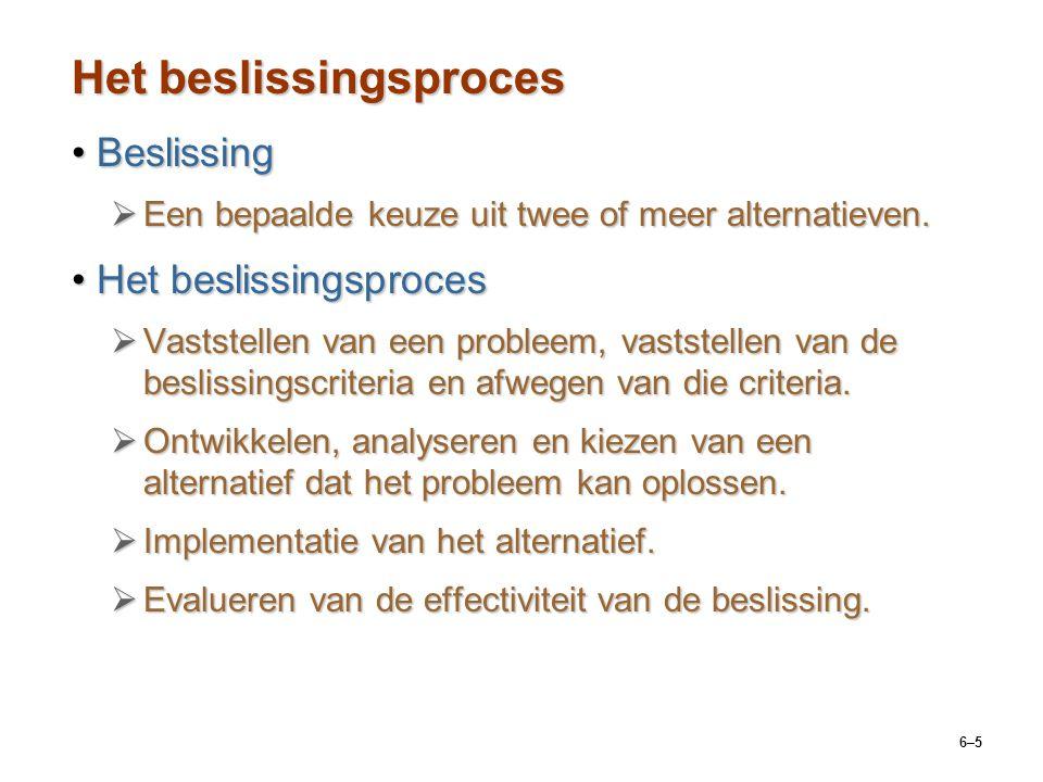 6–5 Het beslissingsproces BeslissingBeslissing  Een bepaalde keuze uit twee of meer alternatieven.