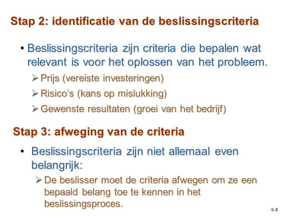 6–8 Stap 2: identificatie van de beslissingscriteria Beslissingscriteria zijn criteria die bepalen wat relevant is voor het oplossen van het probleem.Beslissingscriteria zijn criteria die bepalen wat relevant is voor het oplossen van het probleem.