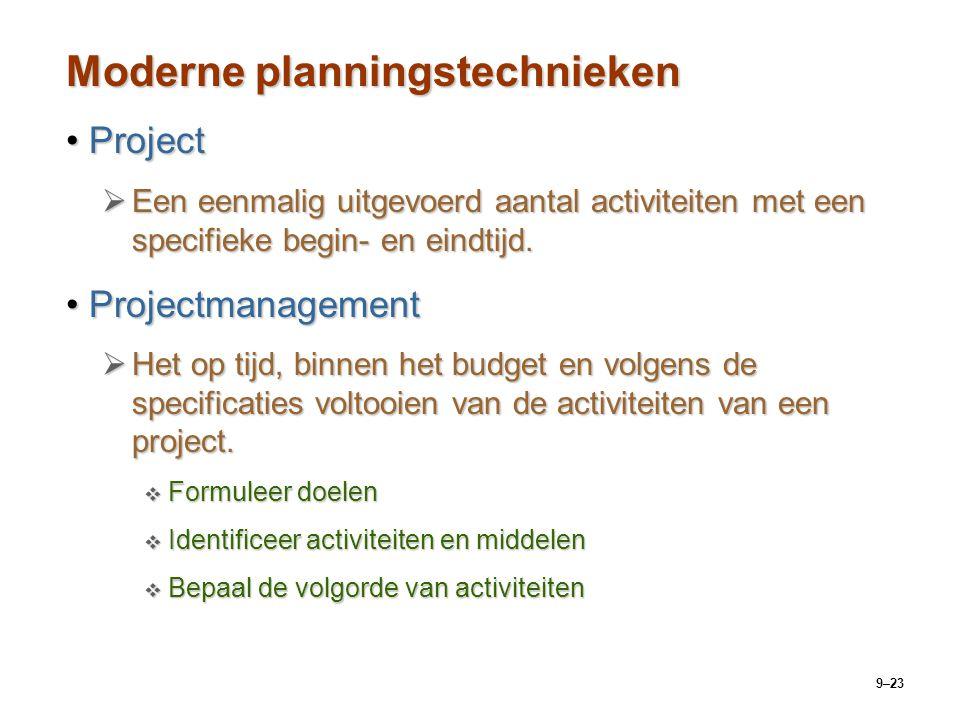 9–23 Moderne planningstechnieken ProjectProject  Een eenmalig uitgevoerd aantal activiteiten met een specifieke begin- en eindtijd. Projectmanagement