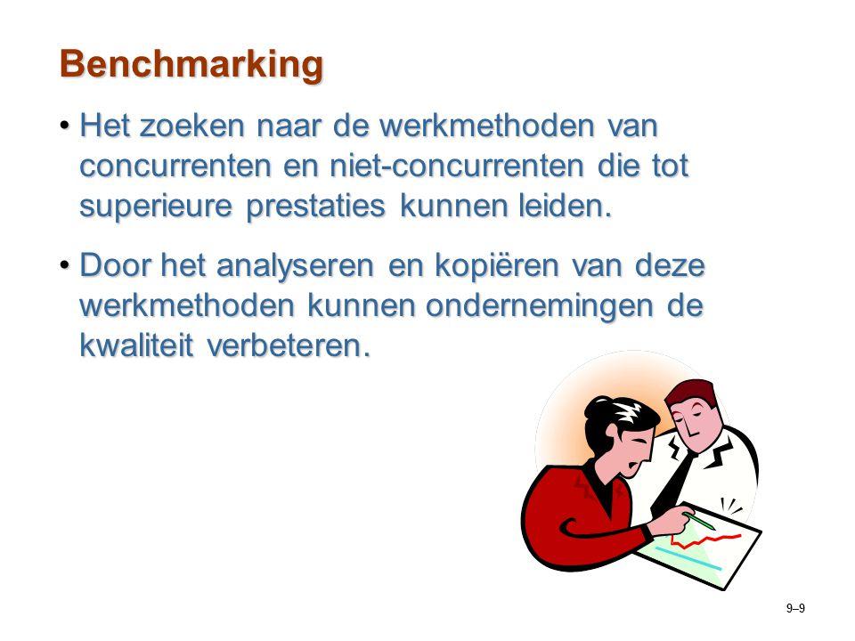 9–9 Benchmarking Het zoeken naar de werkmethoden van concurrenten en niet-concurrenten die tot superieure prestaties kunnen leiden.Het zoeken naar de