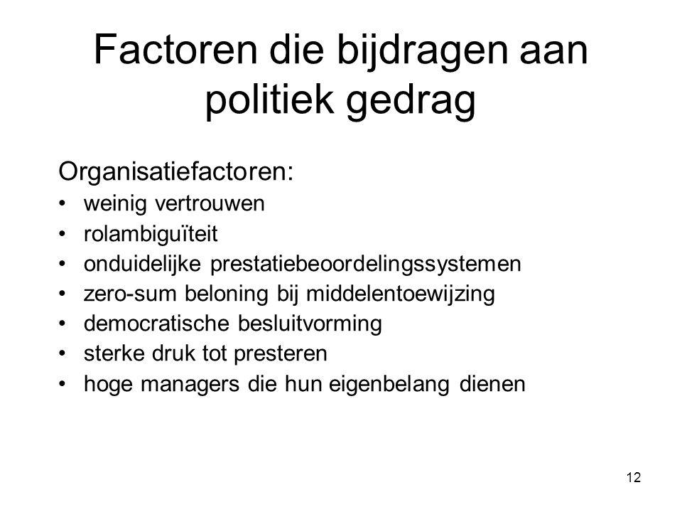 12 Factoren die bijdragen aan politiek gedrag Organisatiefactoren: weinig vertrouwen rolambiguïteit onduidelijke prestatiebeoordelingssystemen zero-su