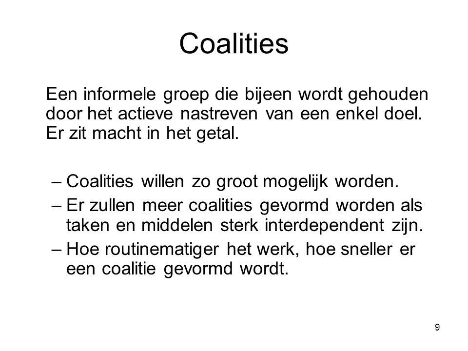 9 Coalities Een informele groep die bijeen wordt gehouden door het actieve nastreven van een enkel doel. Er zit macht in het getal. –Coalities willen