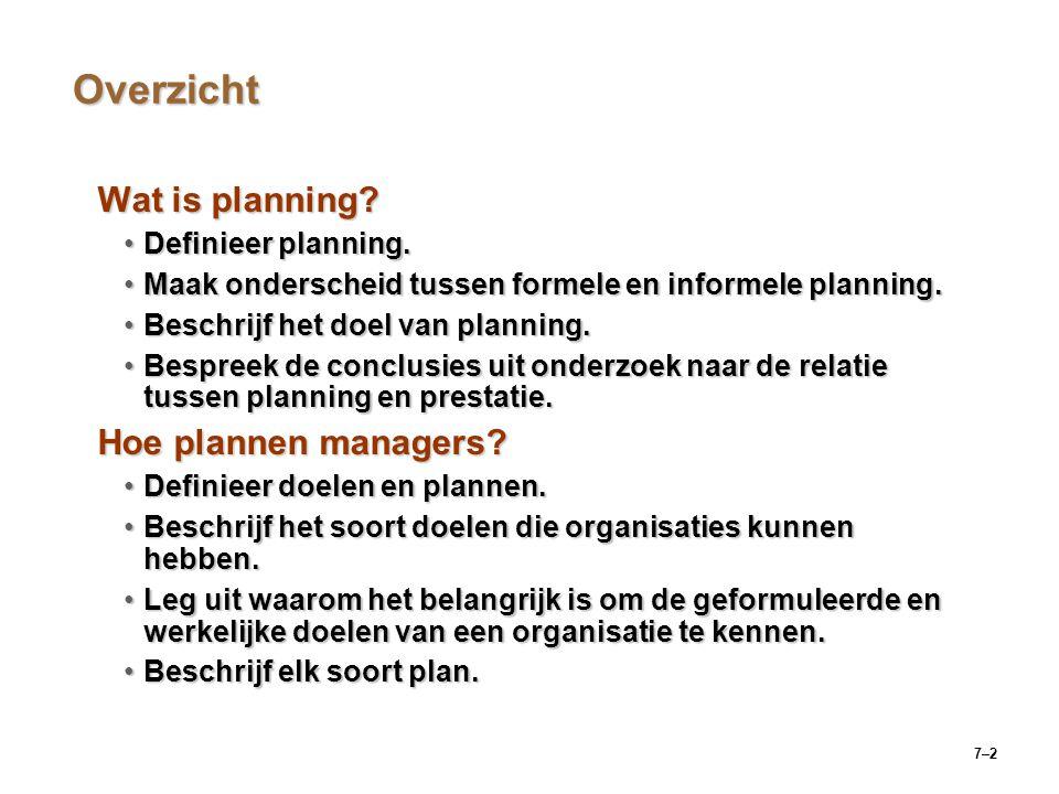 7–2 Overzicht Wat is planning.Definieer planning.Definieer planning.