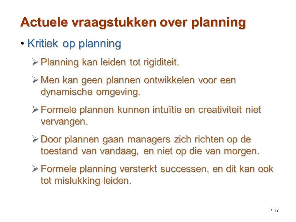 7–27 Actuele vraagstukken over planning Kritiek op planningKritiek op planning  Planning kan leiden tot rigiditeit.