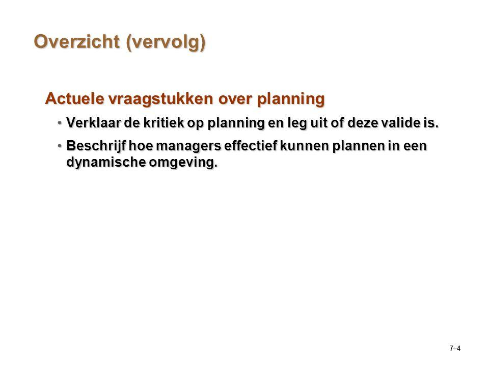 7–4 Overzicht (vervolg) Actuele vraagstukken over planning Verklaar de kritiek op planning en leg uit of deze valide is.Verklaar de kritiek op planning en leg uit of deze valide is.