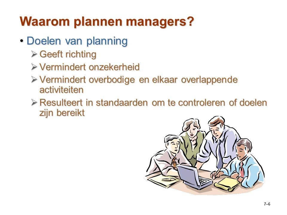 7–6 Waarom plannen managers.