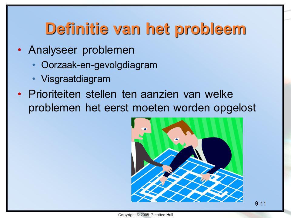 9-11 Copyright © 2005 Prentice-Hall Definitie van het probleem Analyseer problemen Oorzaak-en-gevolgdiagram Visgraatdiagram Prioriteiten stellen ten a