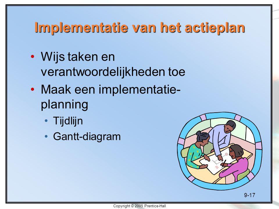 9-17 Copyright © 2005 Prentice-Hall Implementatie van het actieplan Wijs taken en verantwoordelijkheden toe Maak een implementatie- planning Tijdlijn