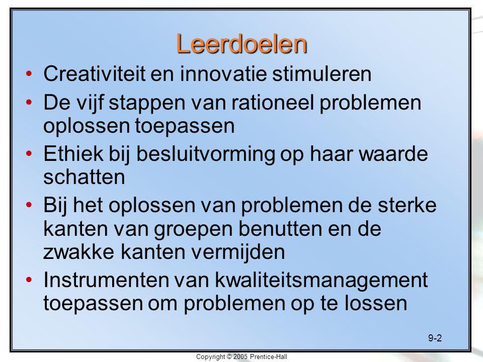 9-2 Copyright © 2005 Prentice-Hall Leerdoelen Creativiteit en innovatie stimuleren De vijf stappen van rationeel problemen oplossen toepassen Ethiek b