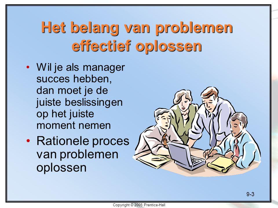 9-4 Copyright © 2005 Prentice-Hall Creatief problemen oplossen Problemen oplossen is het proces waardoor je de discrepantie tussen feitelijke en gewenste uitkomsten opheft