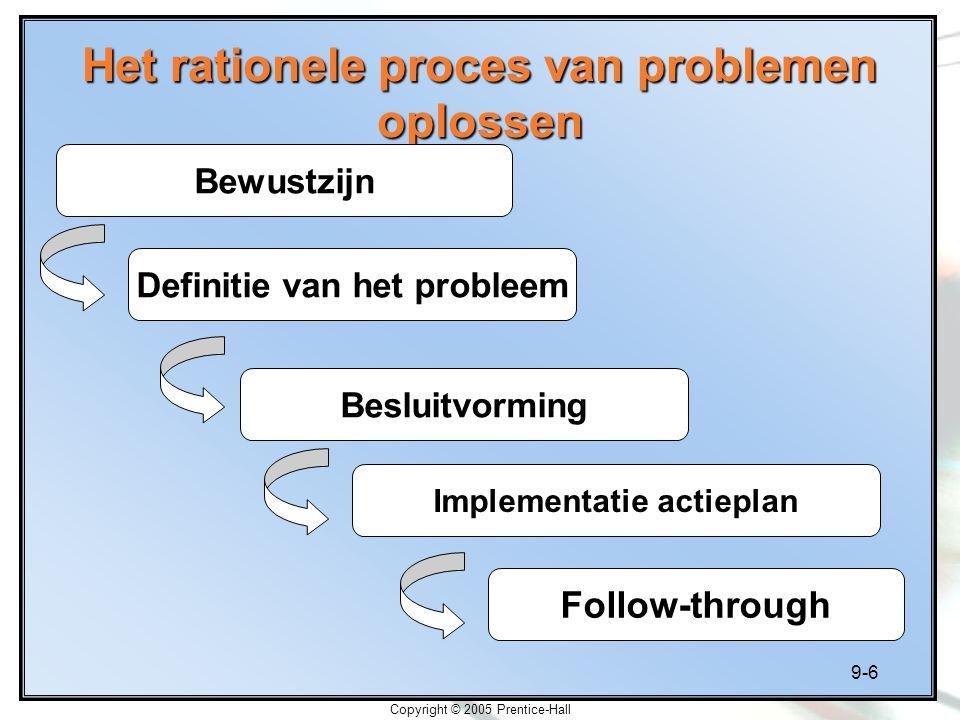 9-6 Copyright © 2005 Prentice-Hall Het rationele proces van problemen oplossen Bewustzijn Definitie van het probleem Besluitvorming Implementatie acti