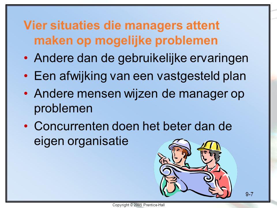 9-7 Copyright © 2005 Prentice-Hall Vier situaties die managers attent maken op mogelijke problemen Andere dan de gebruikelijke ervaringen Een afwijkin