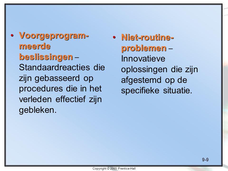 9-9 Copyright © 2005 Prentice-Hall Voorgeprogram- meerde beslissingenVoorgeprogram- meerde beslissingen – Standaardreacties die zijn gebasseerd op pro