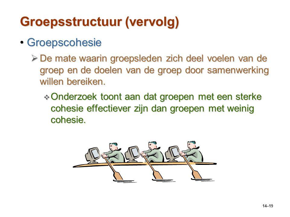 14–19 Groepsstructuur (vervolg) GroepscohesieGroepscohesie  De mate waarin groepsleden zich deel voelen van de groep en de doelen van de groep door samenwerking willen bereiken.