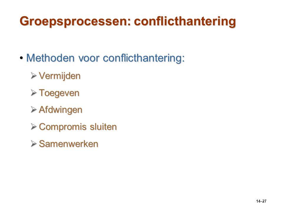 14–27 Groepsprocessen: conflicthantering Methoden voor conflicthantering:Methoden voor conflicthantering:  Vermijden  Toegeven  Afdwingen  Comprom