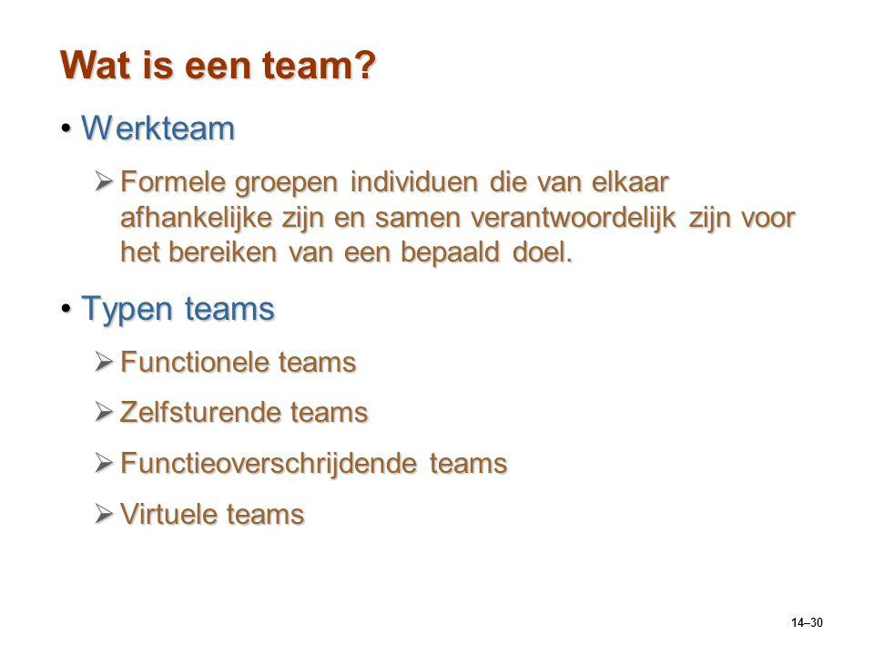 14–30 Wat is een team? WerkteamWerkteam  Formele groepen individuen die van elkaar afhankelijke zijn en samen verantwoordelijk zijn voor het bereiken