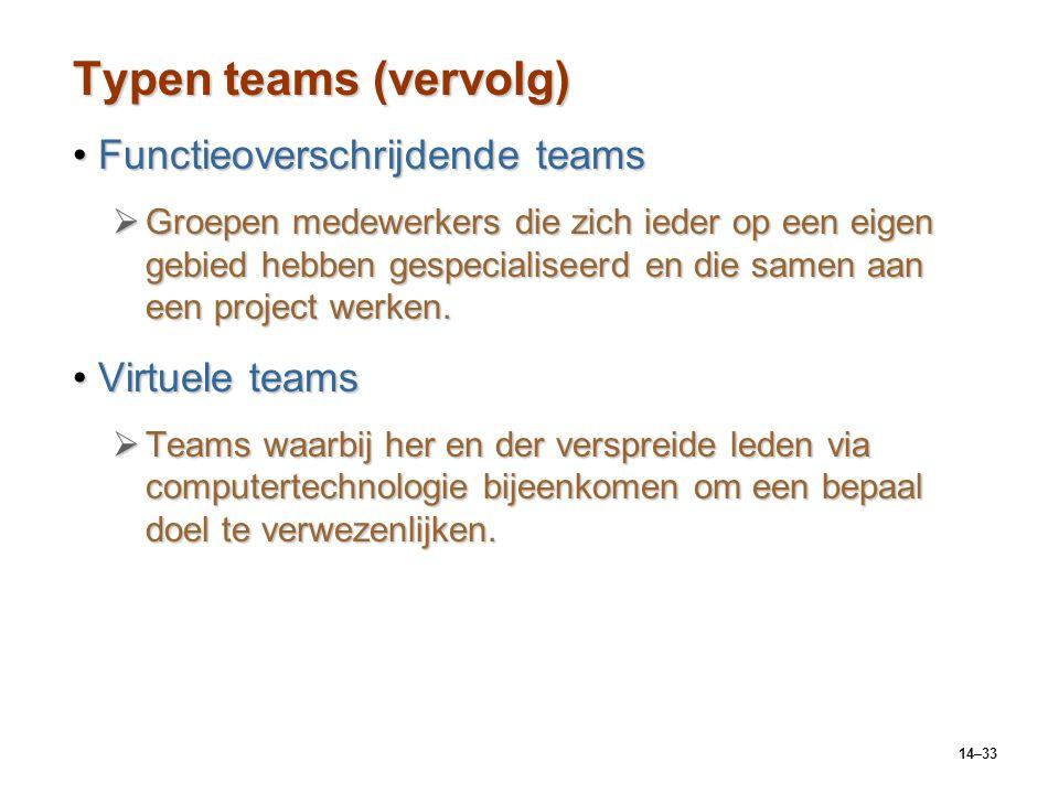 14–33 Typen teams (vervolg) Functieoverschrijdende teamsFunctieoverschrijdende teams  Groepen medewerkers die zich ieder op een eigen gebied hebben gespecialiseerd en die samen aan een project werken.
