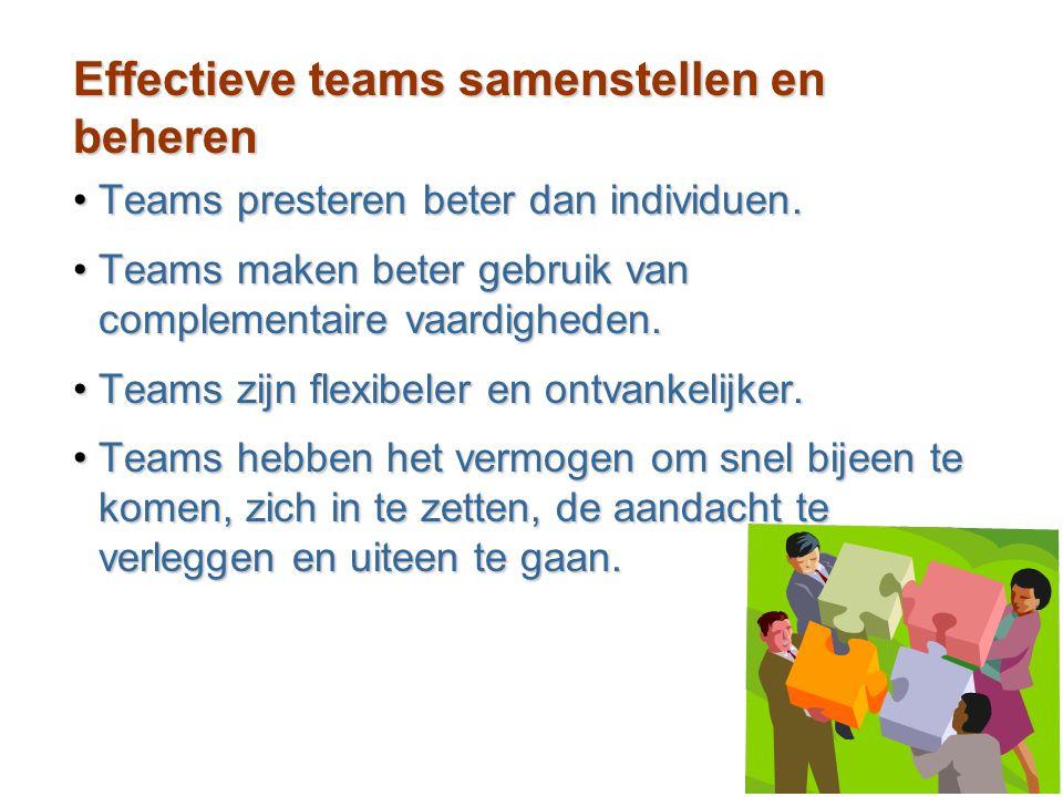 14–34 Effectieve teams samenstellen en beheren Teams presteren beter dan individuen.Teams presteren beter dan individuen. Teams maken beter gebruik va