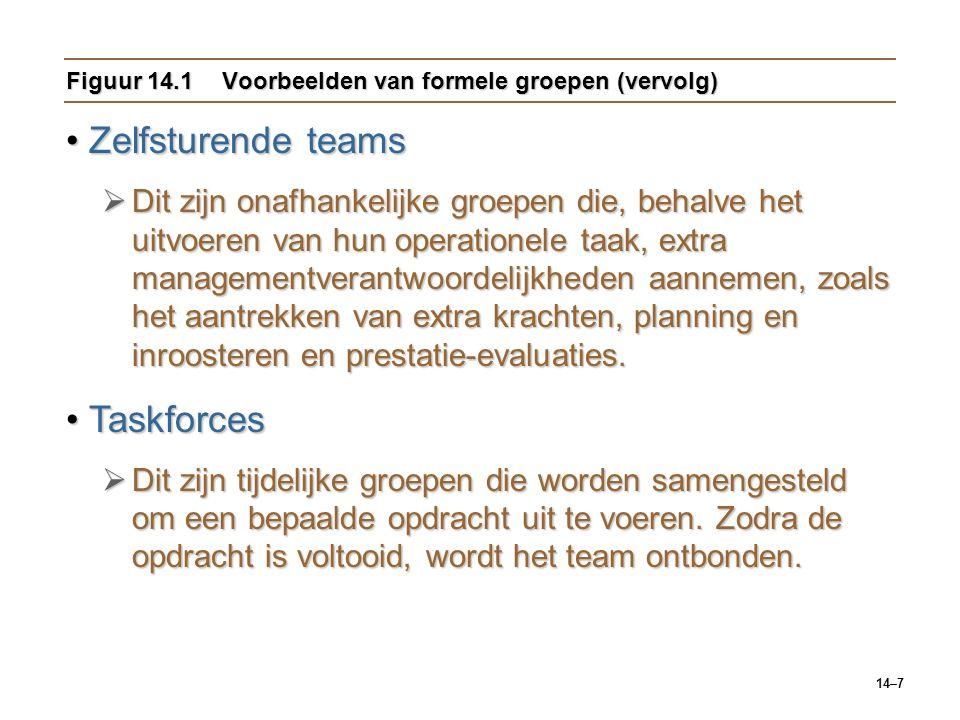 14–7 Figuur 14.1Voorbeelden van formele groepen (vervolg) Zelfsturende teamsZelfsturende teams  Dit zijn onafhankelijke groepen die, behalve het uitvoeren van hun operationele taak, extra managementverantwoordelijkheden aannemen, zoals het aantrekken van extra krachten, planning en inroosteren en prestatie-evaluaties.