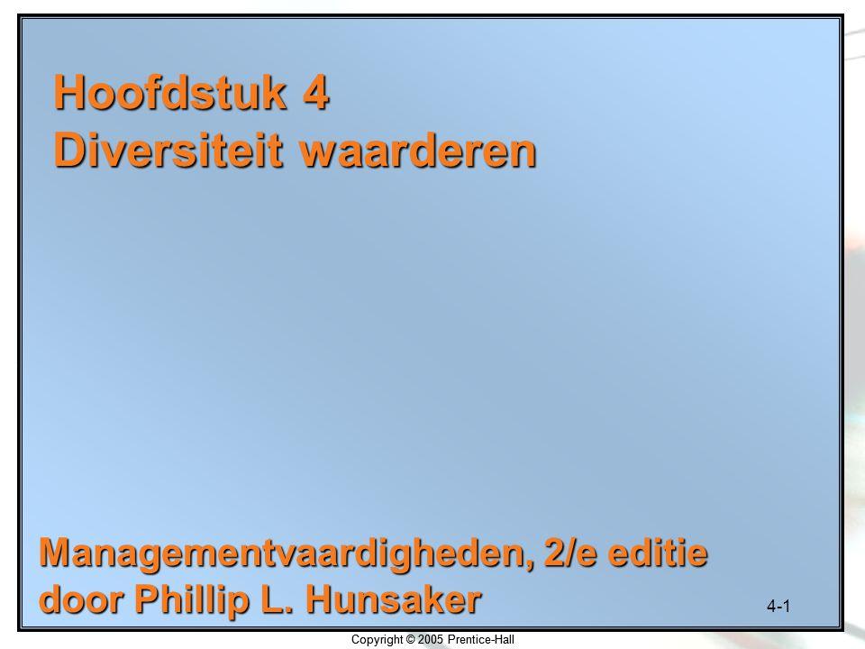 4-1 Copyright © 2005 Prentice-Hall Hoofdstuk 4 Diversiteit waarderen Managementvaardigheden, 2/e editie door Phillip L. Hunsaker Copyright © 2005 Pren