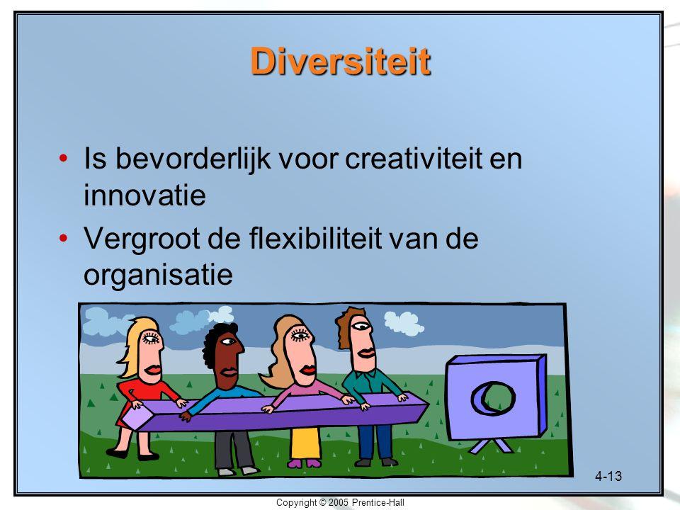 4-13 Copyright © 2005 Prentice-Hall Diversiteit Is bevorderlijk voor creativiteit en innovatie Vergroot de flexibiliteit van de organisatie