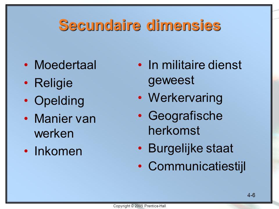 4-6 Copyright © 2005 Prentice-Hall Secundaire dimensies Moedertaal Religie Opelding Manier van werken Inkomen In militaire dienst geweest Werkervaring