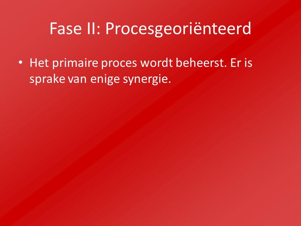 Fase II: Procesgeoriënteerd Het primaire proces wordt beheerst. Er is sprake van enige synergie.