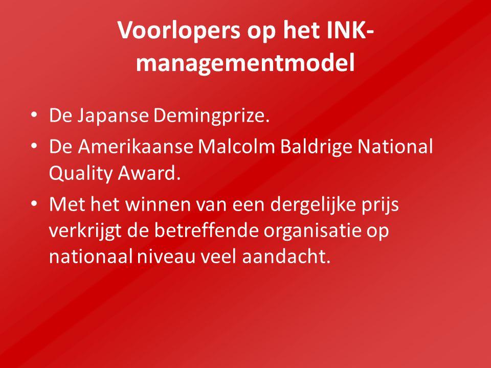 Voorlopers op het INK- managementmodel De Japanse Demingprize. De Amerikaanse Malcolm Baldrige National Quality Award. Met het winnen van een dergelij
