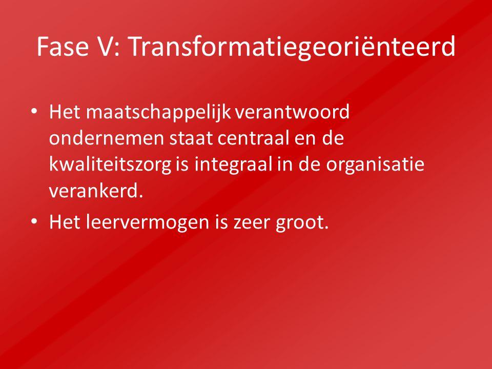 Fase V: Transformatiegeoriënteerd Het maatschappelijk verantwoord ondernemen staat centraal en de kwaliteitszorg is integraal in de organisatie verankerd.