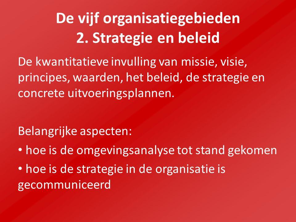 De vijf organisatiegebieden 2. Strategie en beleid De kwantitatieve invulling van missie, visie, principes, waarden, het beleid, de strategie en concr