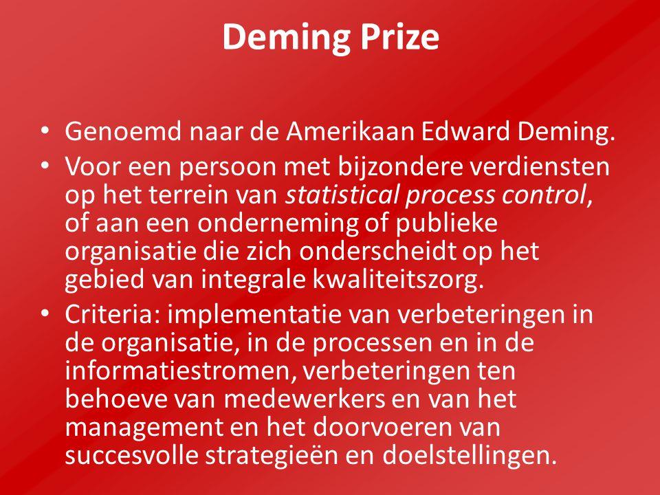 Deming Prize Genoemd naar de Amerikaan Edward Deming. Voor een persoon met bijzondere verdiensten op het terrein van statistical process control, of a