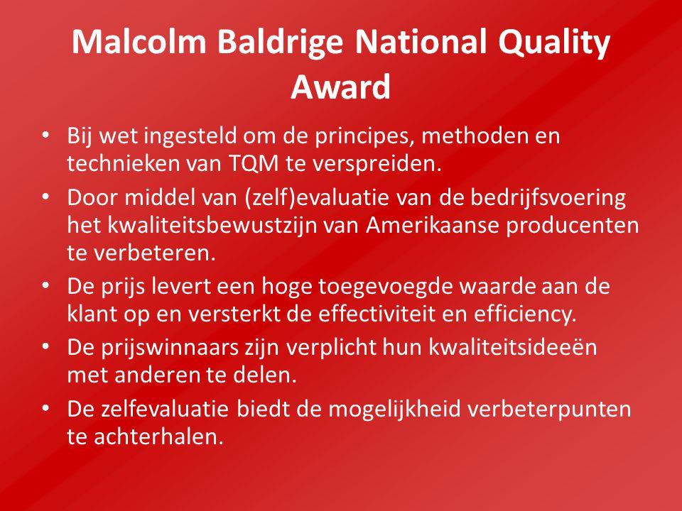 Malcolm Baldrige National Quality Award Zeven sleutelgebieden: Leiderschap Strategische planning Mate van klanten en marktgerichtheid Metingen-, analyses- en kennismanagement, Human resource management Procesmanagement Resultaten