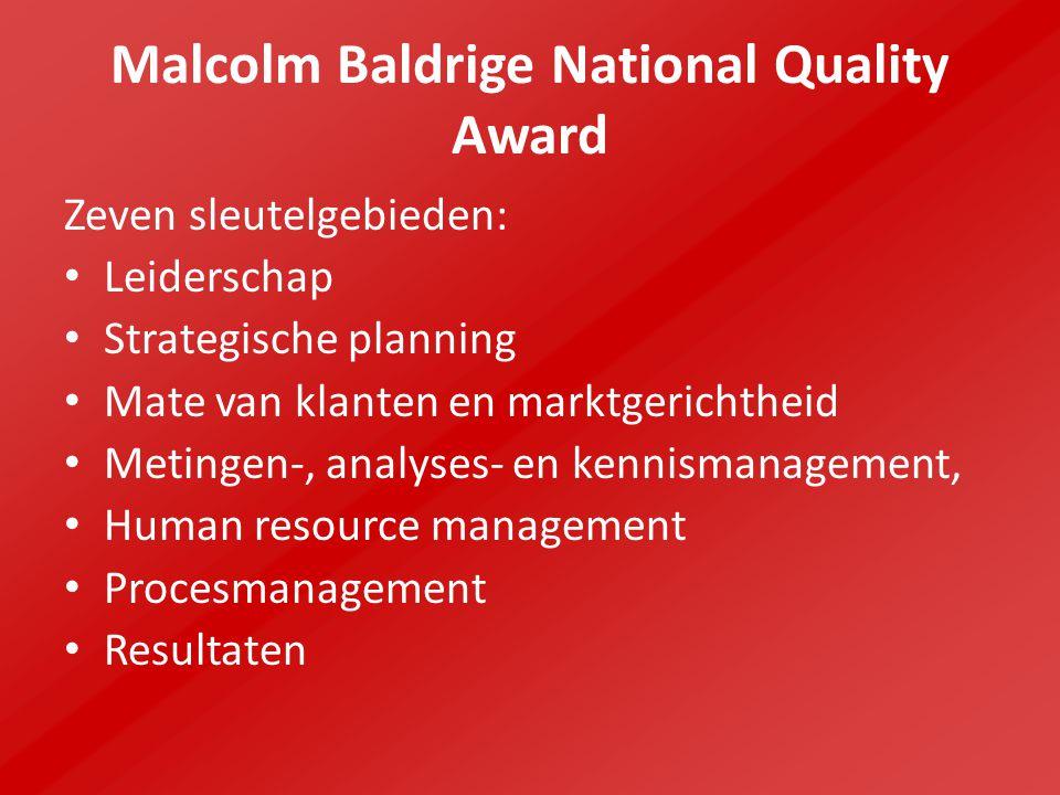 Malcolm Baldrige National Quality Award Zeven sleutelgebieden: Leiderschap Strategische planning Mate van klanten en marktgerichtheid Metingen-, analy
