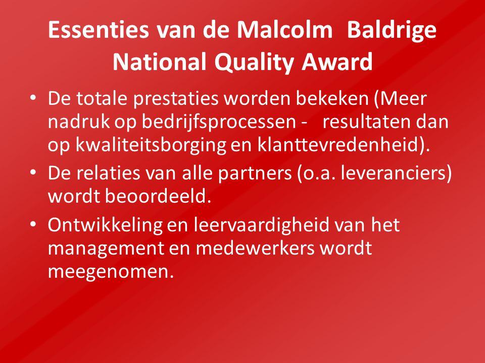 Essenties van de Malcolm Baldrige National Quality Award De totale prestaties worden bekeken (Meer nadruk op bedrijfsprocessen - resultaten dan op kwaliteitsborging en klanttevredenheid).