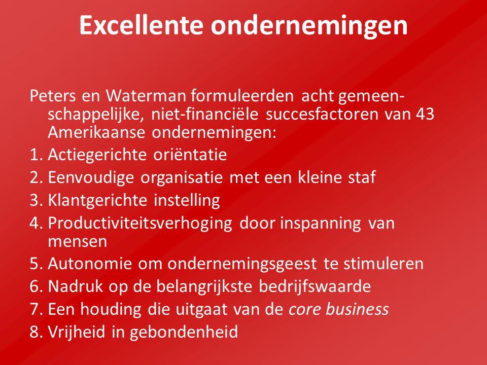Excellente ondernemingen Het streven naar een excellente onderneming en continue verbetering zijn belangrijke doelstellingen van kwaliteitszorg.