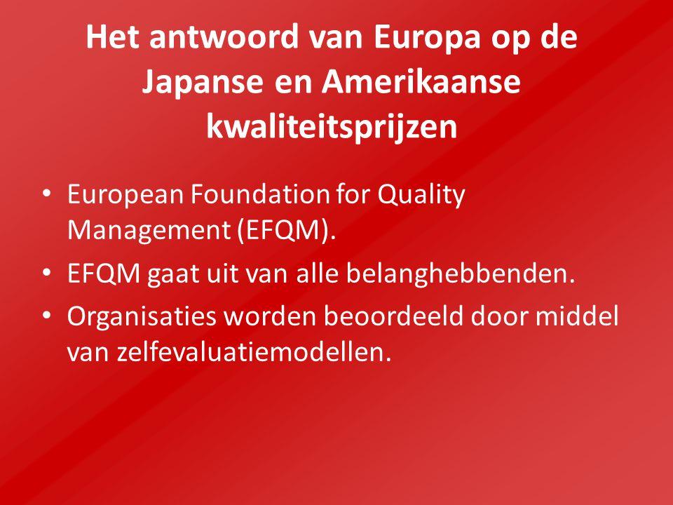 Het antwoord van Europa op de Japanse en Amerikaanse kwaliteitsprijzen European Foundation for Quality Management (EFQM). EFQM gaat uit van alle belan
