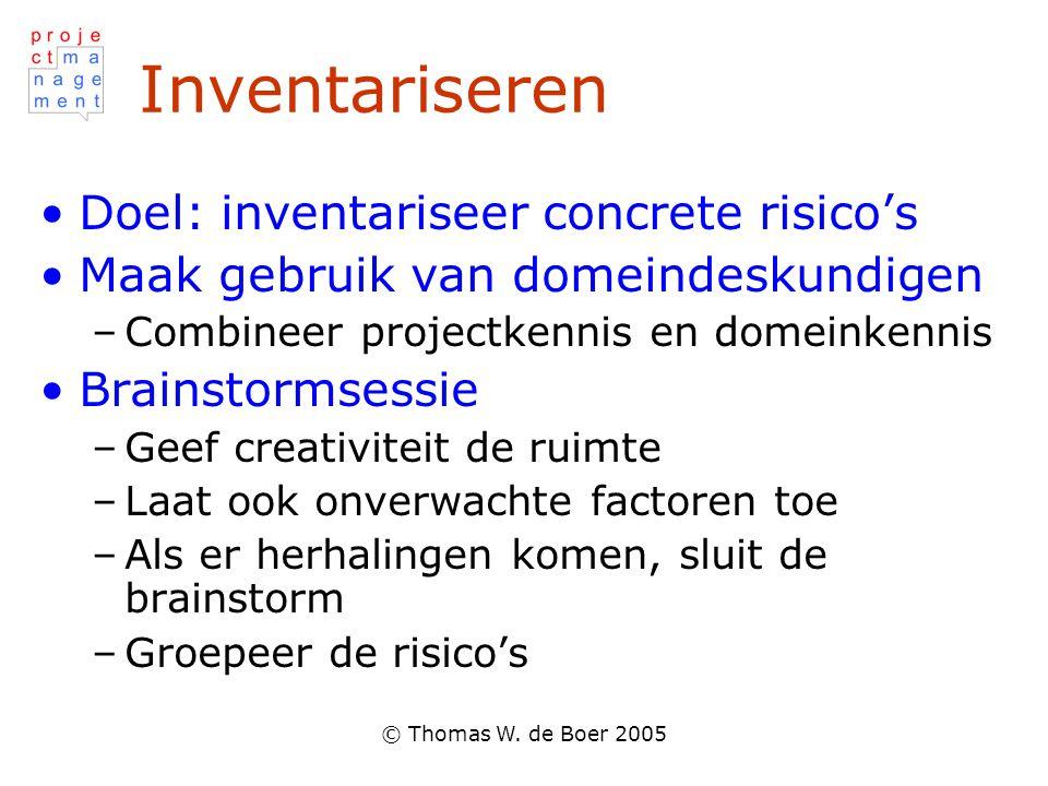 © Thomas W. de Boer 2005 Inventariseren Doel: inventariseer concrete risico's Maak gebruik van domeindeskundigen –Combineer projectkennis en domeinken