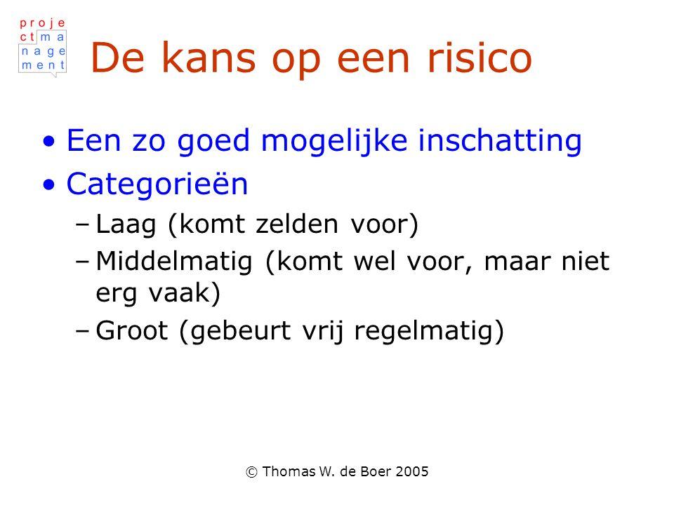 © Thomas W. de Boer 2005 De kans op een risico Een zo goed mogelijke inschatting Categorieën –Laag (komt zelden voor) –Middelmatig (komt wel voor, maa
