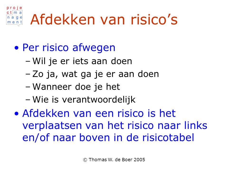 © Thomas W. de Boer 2005 Afdekken van risico's Per risico afwegen –Wil je er iets aan doen –Zo ja, wat ga je er aan doen –Wanneer doe je het –Wie is v