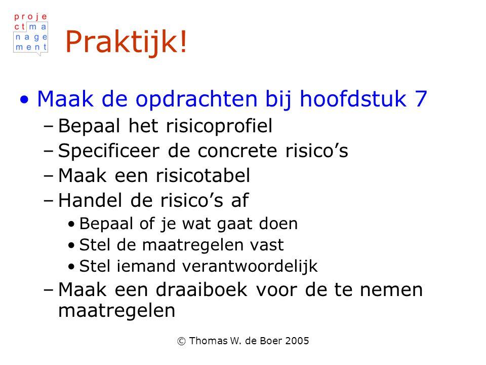 © Thomas W. de Boer 2005 Praktijk! Maak de opdrachten bij hoofdstuk 7 –Bepaal het risicoprofiel –Specificeer de concrete risico's –Maak een risicotabe
