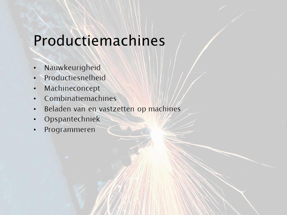Productiemachines Nauwkeurigheid Productiesnelheid Machineconcept Combinatiemachines Beladen van en vastzetten op machines Opspantechniek Programmeren