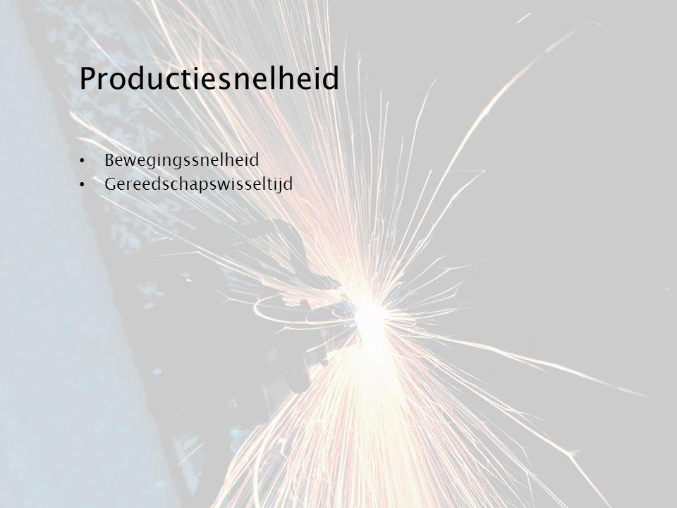 Productiesnelheid Bewegingssnelheid Gereedschapswisseltijd