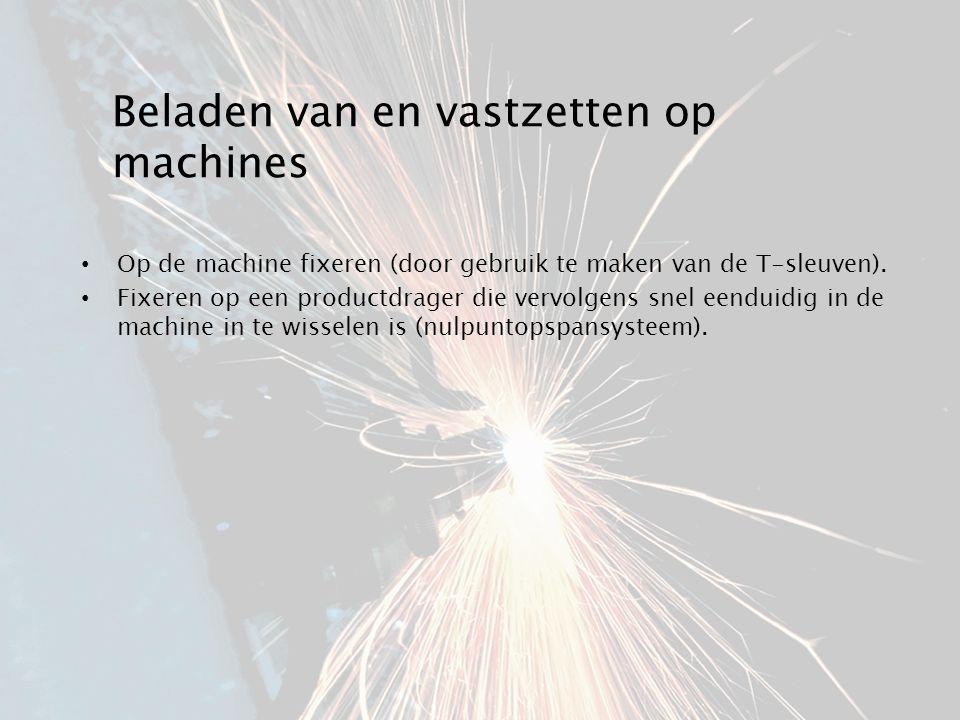 Beladen van en vastzetten op machines Op de machine fixeren (door gebruik te maken van de T-sleuven). Fixeren op een productdrager die vervolgens snel