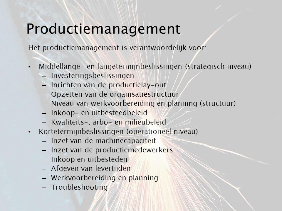 Productiemanagement Het productiemanagement is verantwoordelijk voor: Middellange- en langetermijnbeslissingen (strategisch niveau) – Investeringsbesl