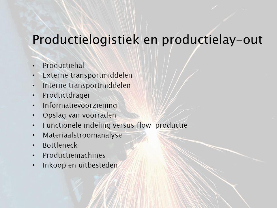 Productielogistiek en productielay-out Productiehal Externe transportmiddelen Interne transportmiddelen Productdrager Informatievoorziening Opslag van